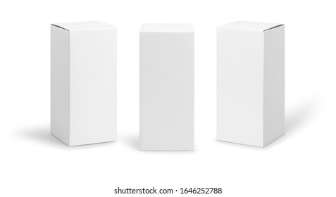 Set of White box tall shape product packaging in side view and front view isolated on white background with clipping path. - Shutterstock ID 1646252788