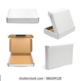 Set of white cardboard boxes.  Boxes mockup. Template ready for your design