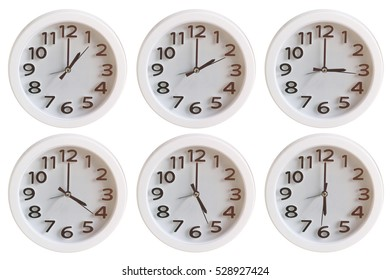 Set of White Clock:  1 o'clock to 6 o'clock isolated on white background