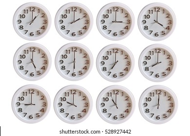 Set of White Clock : 1 o'clock  to 12 o'clock isolated on white background