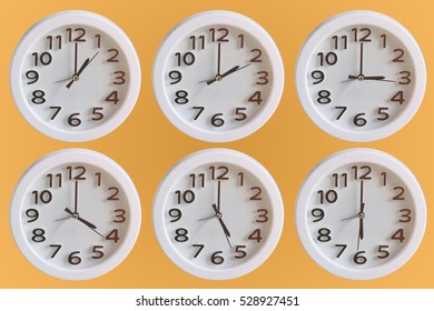 Set of White Clock:  1 o'clock to 6 o'clock isolated on orange background