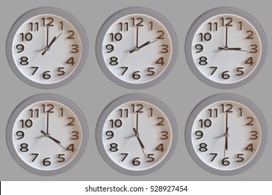 Set of White Clock:  1 o'clock to 6 o'clock isolated on Gray Background