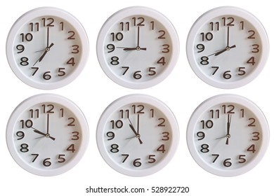 Set of White Clock Isolated on white background