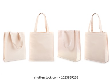 Set of white cotton bag isolated on white background
