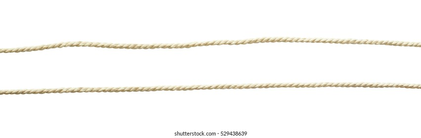 Set of white cotton ropes isolated on white