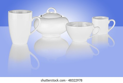 Set of White Cups and Sugar Bowl on Blue Background