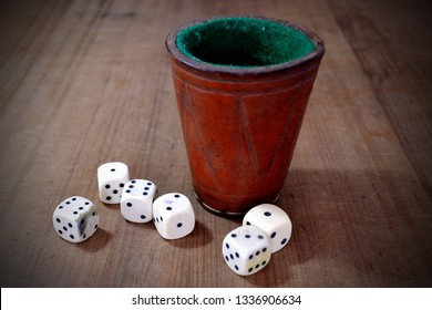 Set of White Dice and Leather