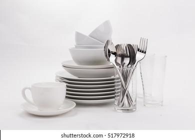Set of white dishes