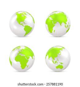Set of white globes isolated on white background, illustration.