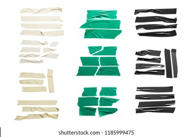 Set of white, green, black tapes on white background. Torn horizontal and different size sticky tape, adhesive pieces.