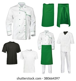 The set of white and green chef cook's clothes with gray and black t-shirt, isolated over white background