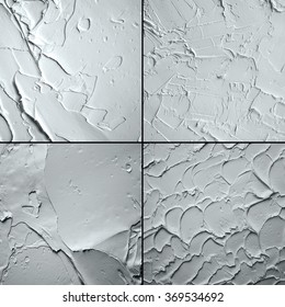 set of white and grey oil abstract background painting