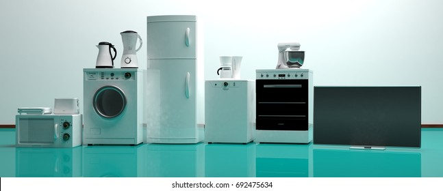 Set of white home appliances on a green floor. 3d illustration
