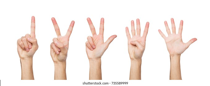 Set of white male hand show figures, count one, two, three, four, five. Isolated ar white background