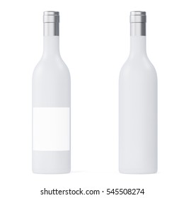 Set White matte wine bottles isolated on background with empty blank. 3d rendering