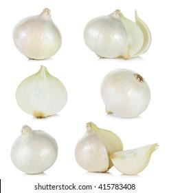 Set White onion isolated on the white background.