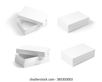 set of white opened and closed paperboard boxes. Template for designers. Mockup ready for your design.