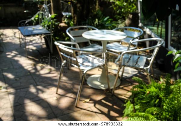 Brilliant Set White Outdoor Aluminum Chairs Table Stock Photo Edit Ibusinesslaw Wood Chair Design Ideas Ibusinesslaworg