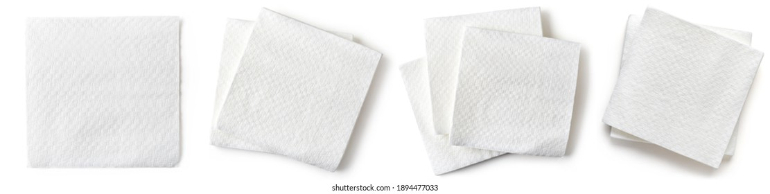 Set of white paper napkins isolated on white background, top view