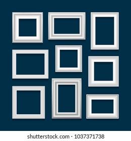Set of white picture frames on blue background. Raster version.