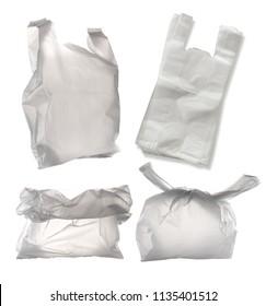 Set of White plastic bag isolated on white background