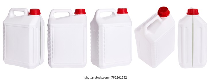 Set of white plastic canisters isolated in different positions