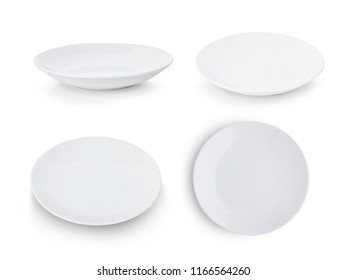 set of white plate isolated on white background