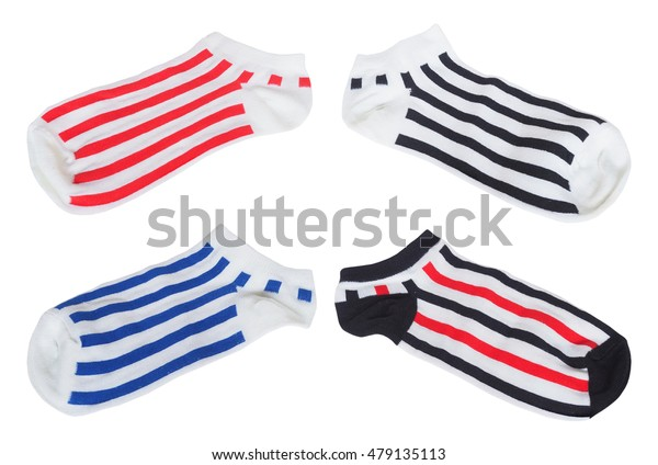 Set of white socks with striped pattern isolated on white background
