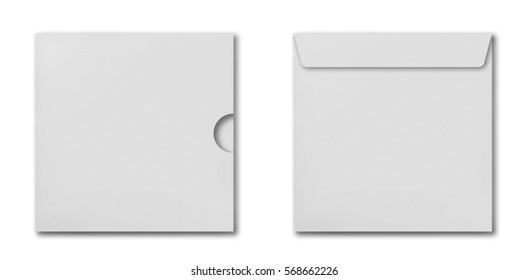 Set of white square envelopes for cd disk isolated on white background