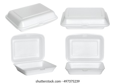 set of white styrofoam box isolated on white