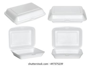 set of white styrofoam box isolated on white