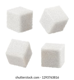 Set of white sugar cubes, isolated on white background