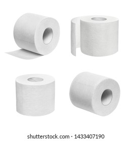 Set of white toilet paper rolls, isolated on white background