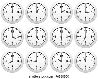 Set of white wall-clocks with different time