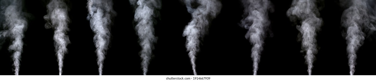 set of white water vapor with spray from the humidifier. Isolated on black background