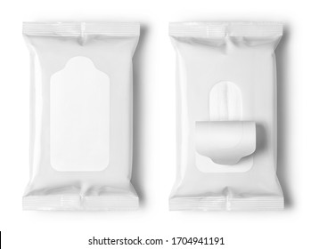 Set of white wet wipes flow packs, isolated on white background