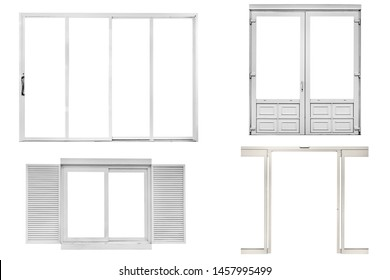 set white window and door isolated on white background