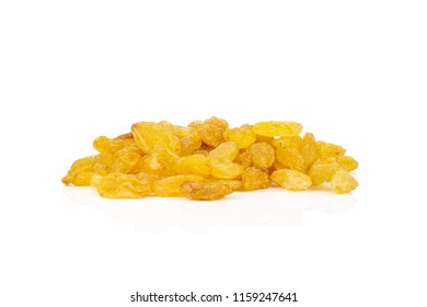Set of lot of whole dry golden raisins sultana variety isolated on white background