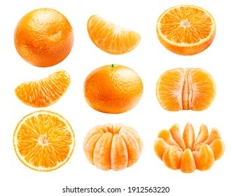 Set of whole ripe tangerines, juicy slices, peeled slices, isolated on a white background.