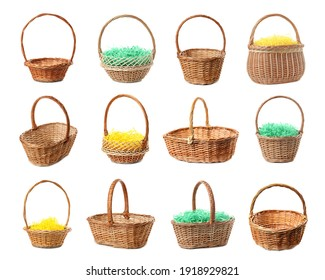 Set with wicker baskets on white background. Easter item