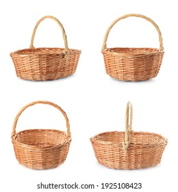 Set with wicker baskets on white background