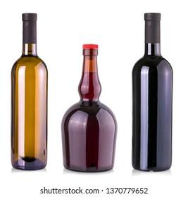 The set of Wine bottle isolated on white background