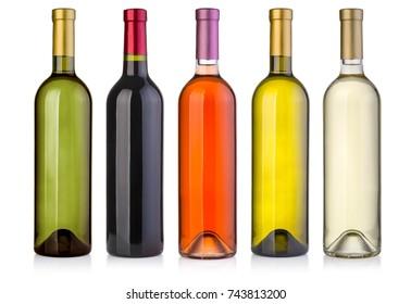 set  of wine bottles  isolated on white background