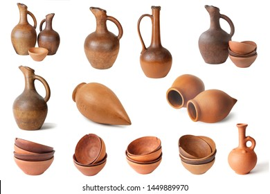Set of  wine jugs and clay cups on a white background, isolated