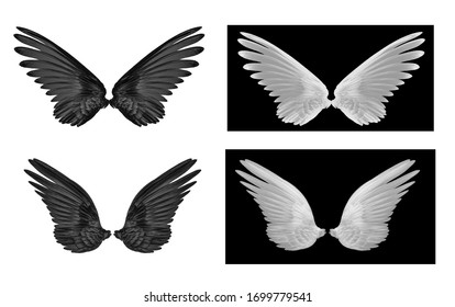 set of wing on white background