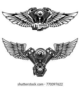 Set of winged motorcycle engine. Design elements for poster, emblem, sign, logo, label, emblem.