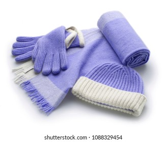 set of winter blue woolen accessorie, scarf, gloves and hat, isolated