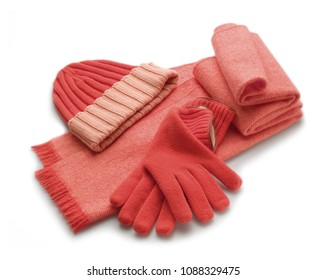 set of winter red woolen accessorie, scarf, gloves and hat, isolated