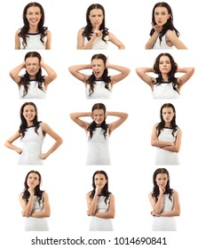 Set of woman face expression