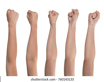 Set of woman fist isolated on white background